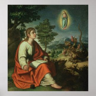 Vision de St. John el evangelista en Patmos Póster