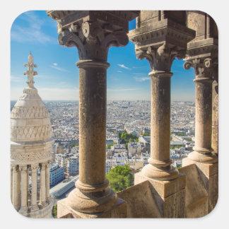 Visión desde arriba de Basilique du Sacre Coeur Calcomanías Cuadradas Personalizadas