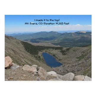 Visión desde arriba de la postal del Mt. Evans