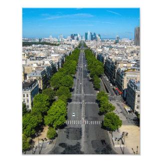 Visión desde el arco du Triomphe, impresión del Cojinete