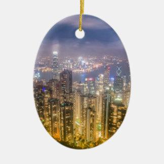 Visión desde el pico, Hong Kong Adorno Navideño Ovalado De Cerámica