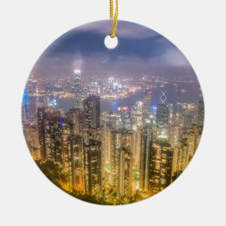 Visión desde el pico, Hong Kong Adorno Navideño Redondo De Cerámica