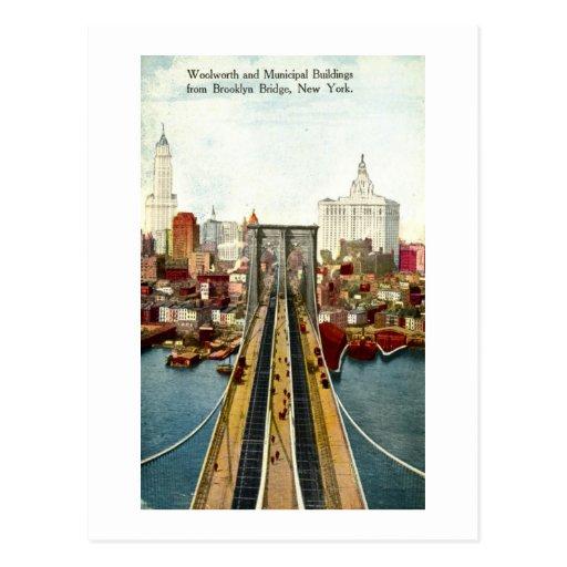 Visión desde el puente de Brooklyn, vintage de NY Postal