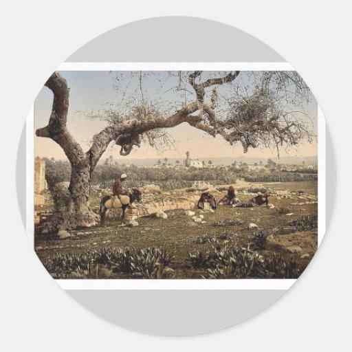 Visión desde el sudoeste, Lydda, Tierra Santa, (es Pegatina Redonda