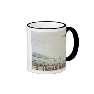 Visión desde la cubierta del transporte del castil taza de café