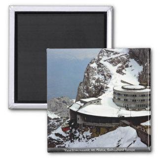 Visión desde la cumbre, Mt. Pilatus, Suiza Europa Imán Cuadrado