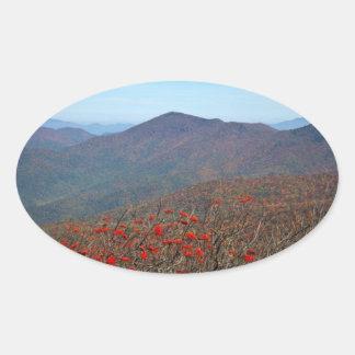 Visión desde la montaña escarpada de la bóveda pegatina ovalada