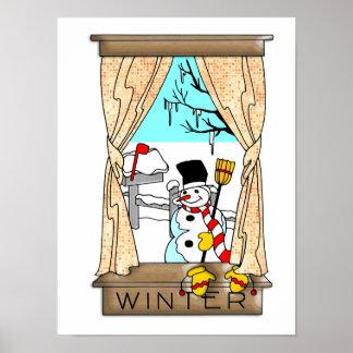 Visión desde la ventana de la cocina en invierno póster