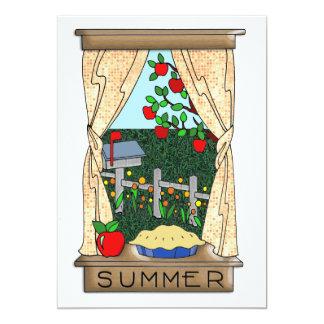 """Visión desde la ventana de la cocina en verano invitación 5"""" x 7"""""""