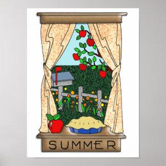 Visión desde la ventana de la cocina en verano póster