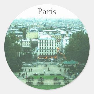 Visión desde los pegatinas de Sacre Coeur París Etiquetas Redondas