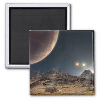 Visión desde una luna hipotética en órbita imán cuadrado