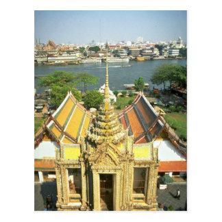 Visión desde Wat Arun sobre el río Chao Phraya, Tarjeta Postal