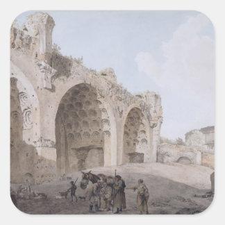 Visión en el foro romano (el templo de la paz) pegatina cuadrada