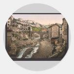 Visión general, Thiers, vintage Photochrom de Etiqueta Redonda