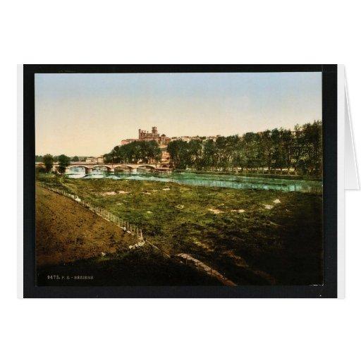 Visión general, vintage Photochrom de Beziers, Fra Tarjetón
