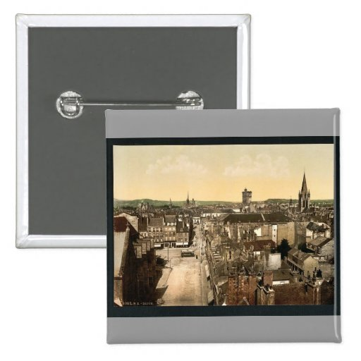 Visión general, vintage Photochrom de Dijon, Franc Pins