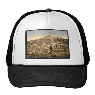 Visión general y vintage de Vesuvio, Pompeya, Ital Gorros Bordados
