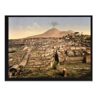 Visión general y vintage de Vesuvio, Pompeya, Ital Tarjeta Postal