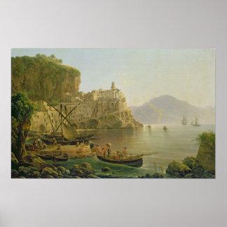 Visión hacia Atrani en el Amalfi, 1817 Impresiones
