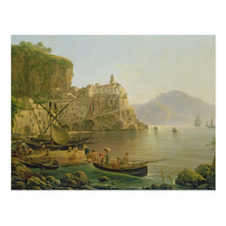 Visión hacia Atrani en el Amalfi, 1817 Postal