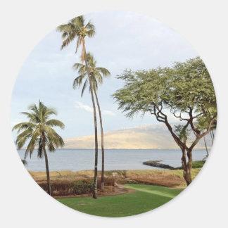 Visión hacia la bahía de Maalaea de Kihei, Maui Pegatina Redonda