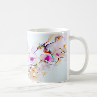 """Vision in Pink"" Hummingbird Print Coffee Mug"
