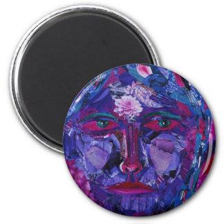 Vision interno magenta y violeta de la vista - imán redondo 5 cm