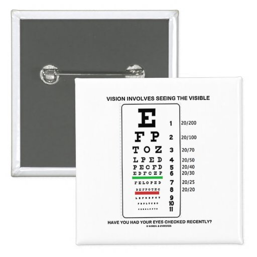 Vision Involves Seeing The Visible (Snellen Chart) 2 Inch Square Button