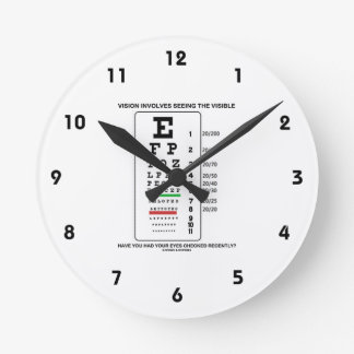 Vision Involves Seeing The Visible (Snellen Chart) Round Wallclock