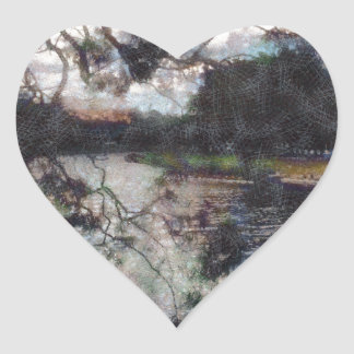 Vision of a river heart sticker
