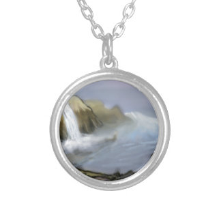 Vision of sea water round pendant necklace