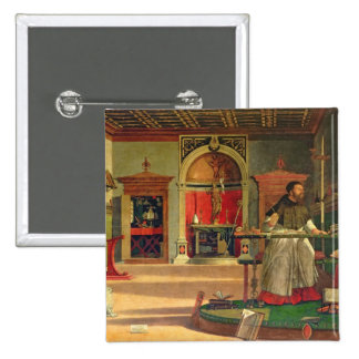Vision of St. Augustine, 1502-08 (oil on canvas) ( Pinback Button