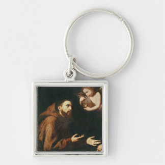 Vision of St. Francis of Assisi Silver-Colored Square Keychain