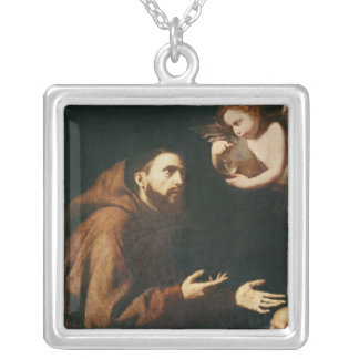 Vision of St. Francis of Assisi Silver Plated Necklace