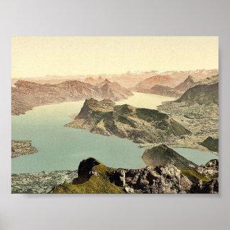 Visión sobre el lago de cuatro cantones Pilatus Posters