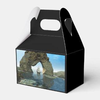 Visión sobre el océano con la nave caja para regalos