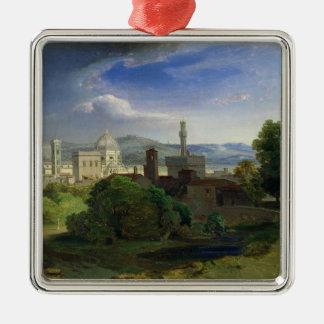 Visión sobre Florencia, c.1829 Adorno Cuadrado Plateado