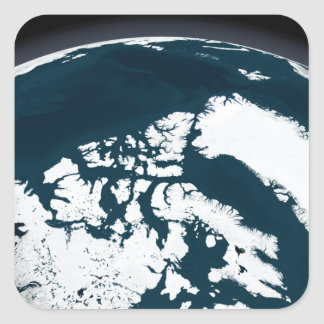 Visión sobre Groenlandia y el Océano ártico Pegatina Cuadrada