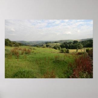Visión sobre los valles de Derbyshire Póster
