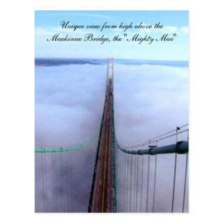 Visión única desde arriba del puente de Mackinac Tarjeta Postal