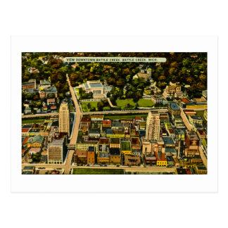 Visión vintage de Battle Creek céntrica, Michigan Tarjeta Postal