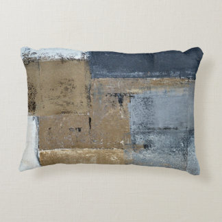 'Visionary' Neutral Abstract Art Decorative Pillow