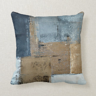 'Visionary' Neutral Abstract Art Throw Pillow