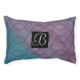 Visionary Pet | Monogram Pink Purple Teal Blue | Pet Bed