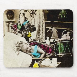 Visiones del navidad del vintage de los ciruelos d tapetes de ratón