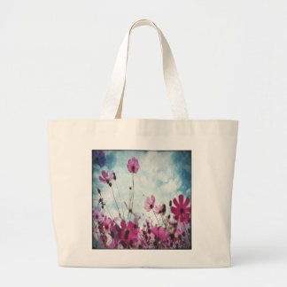 Visiones en diseño floral rosado bolsa tela grande
