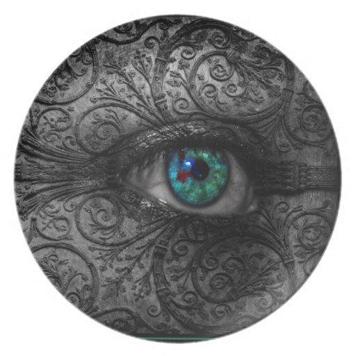 Visiones en la placa del ojo de Dard W/Teal Plato De Cena