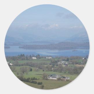 Visiónes escocesas pegatina redonda