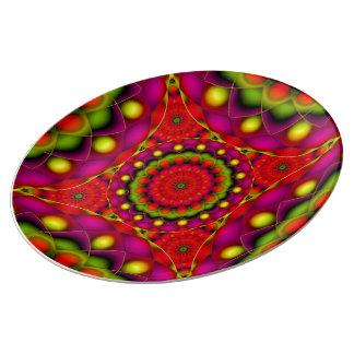 Visiones psicodélicas de la mandala de la placa de plato de cerámica
